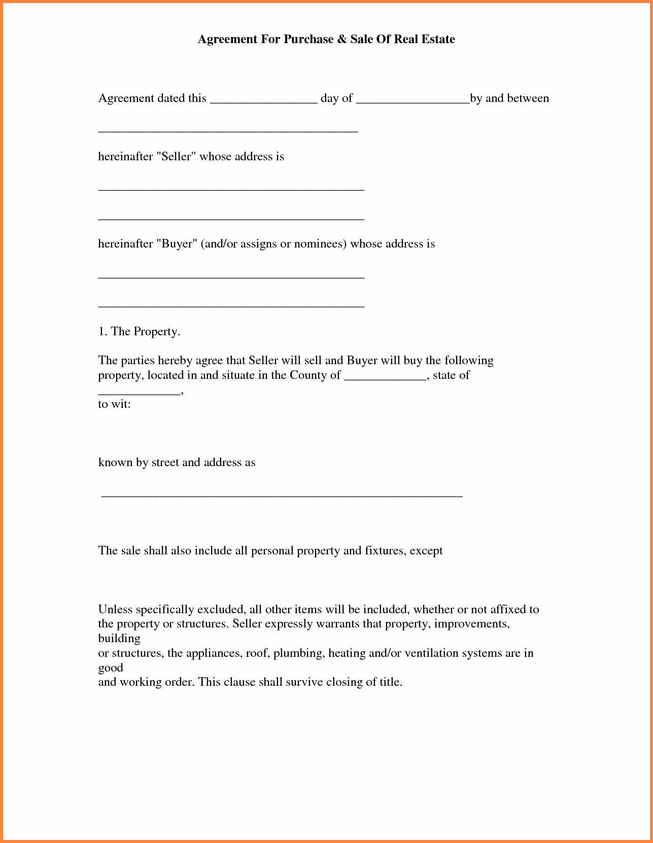 Free Real Estate Purchase and Sale Agreement Template