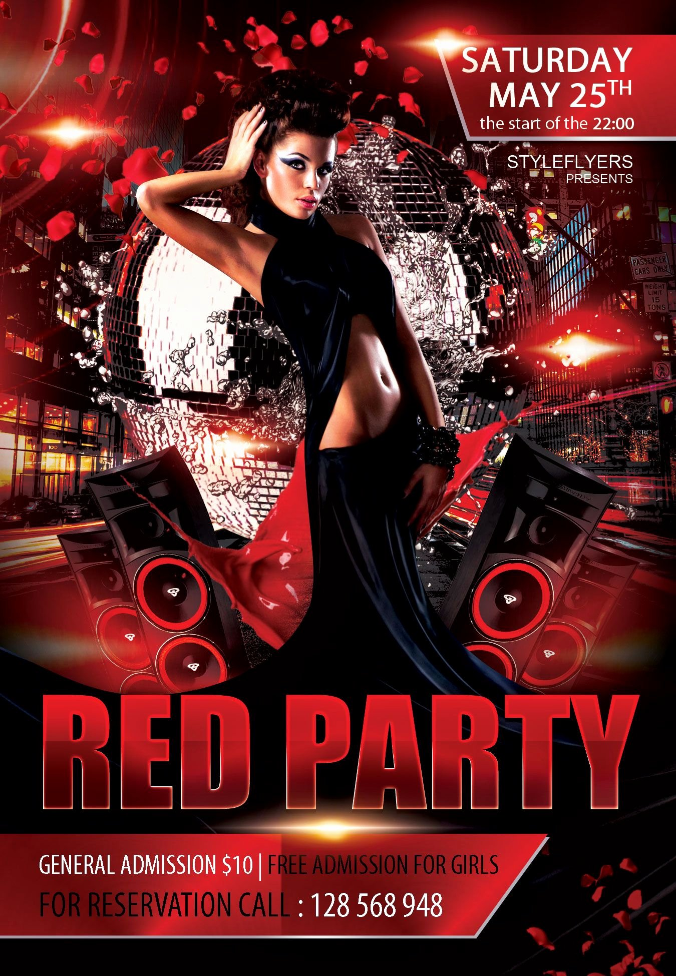 Free Red Party Flyer Psd Template Styleflyer Club