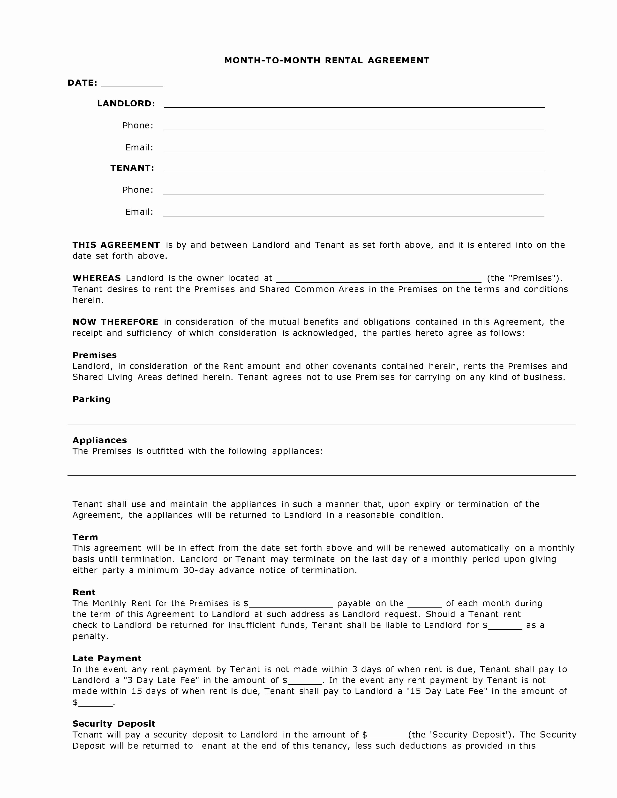 Free Rental Agreement Generic Template Awesome Collection
