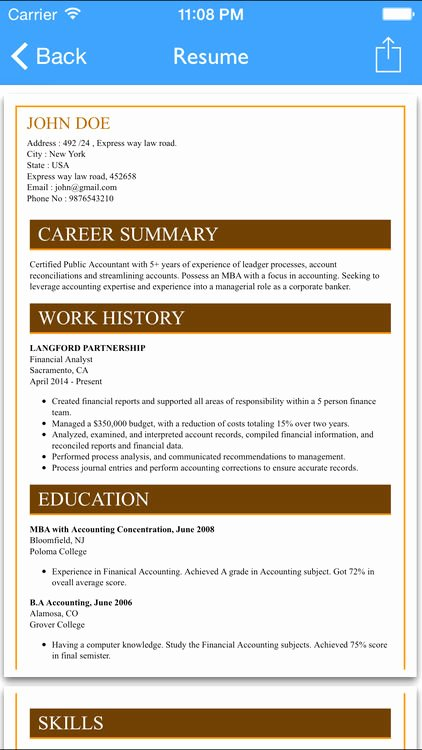 Free Resume Builder App Professional Cv Maker and