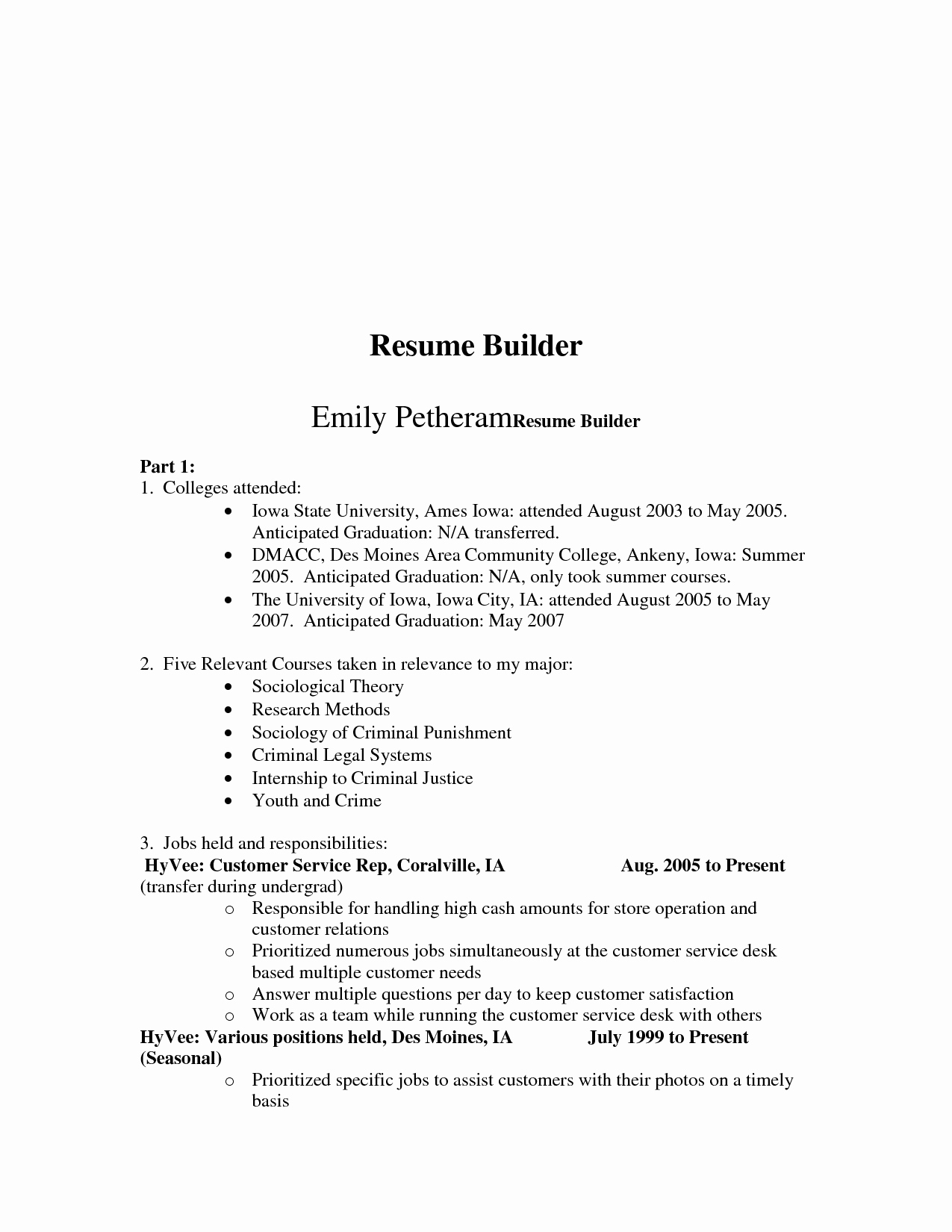 Free Resume Builder Line Best Template Collection