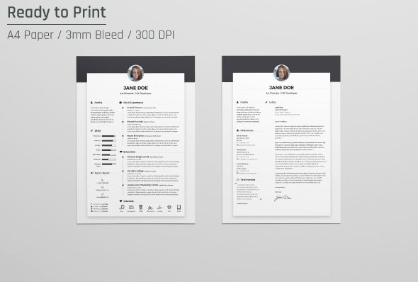 free resume cv design template cover letter doc psd ai indd