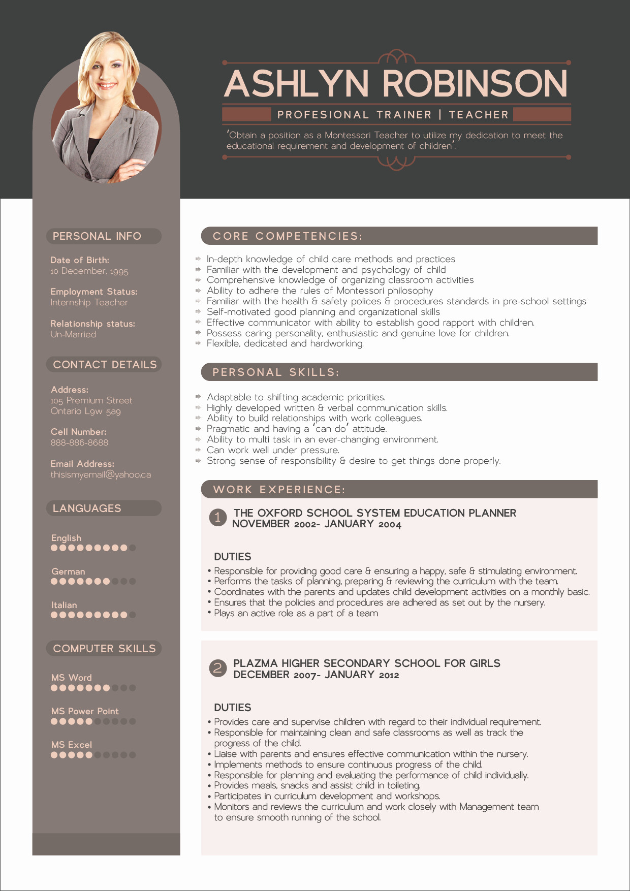 Free Resume Cv Design Template for Trainers & Teachers