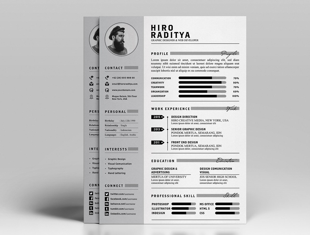 Free Resume Cv Design Template with Cover Letter