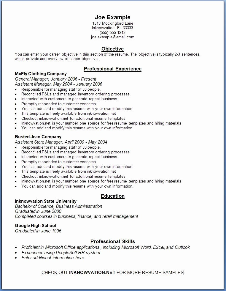 Free Resume Samples Line