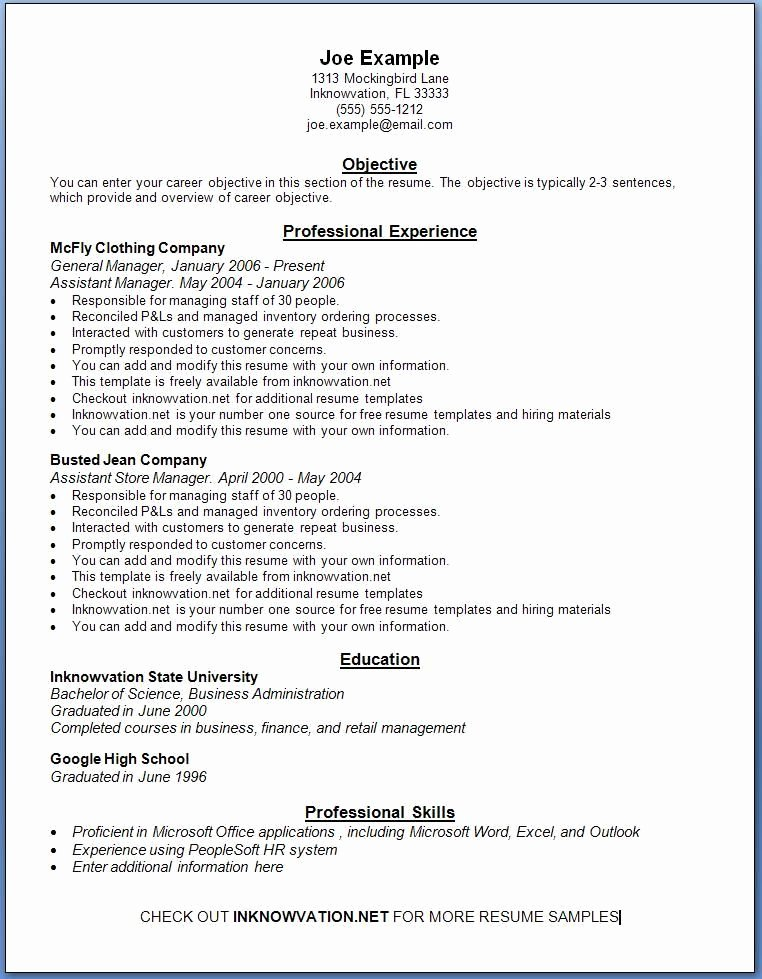 Free Resume Samples Line Sample Resumes