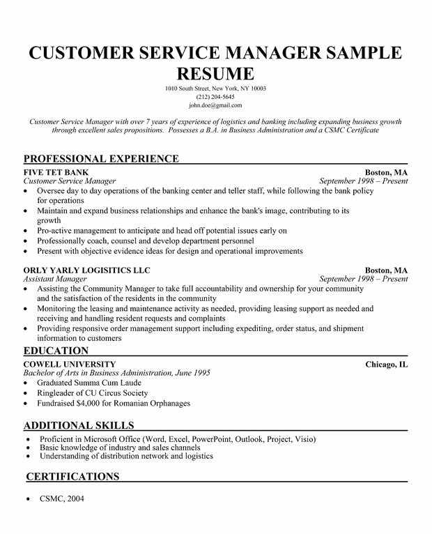 Free Resume Template Customer Service