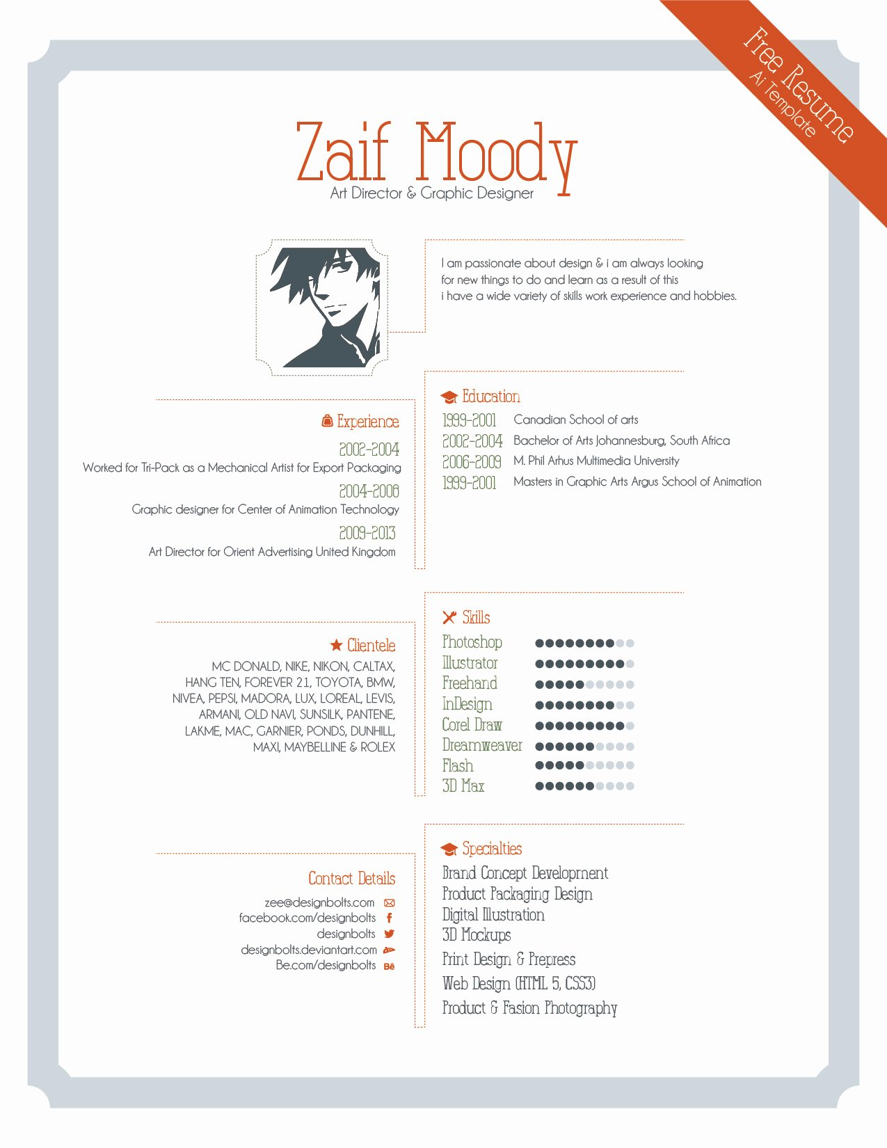 Free Resume Template for Graphic Designers