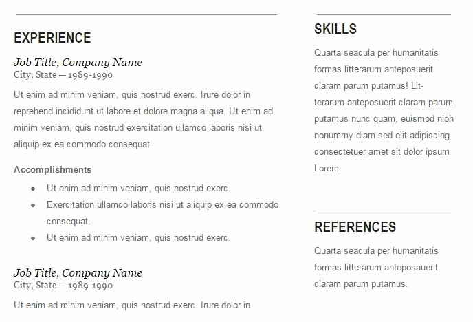 Free Resume Template for Printing