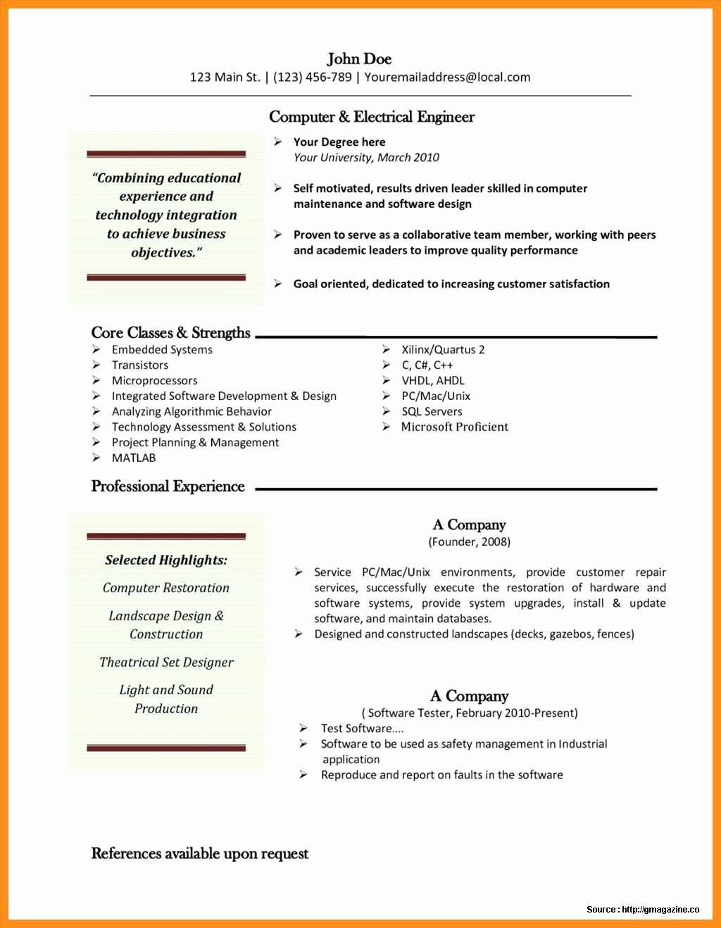 Free Resume Templates for Mac Resume Resume Examples