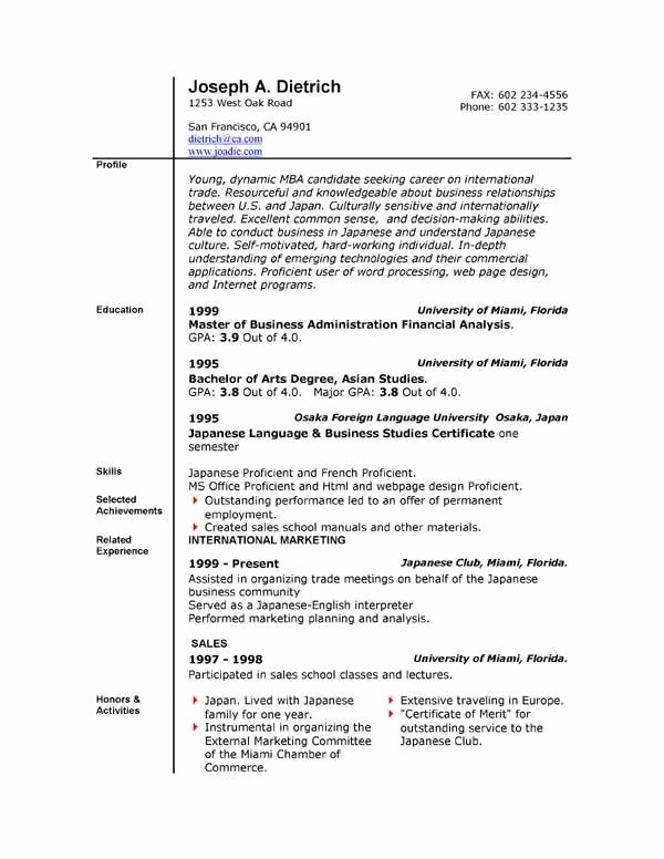 Free Resume Templates for Microsoft Fice Word 2007