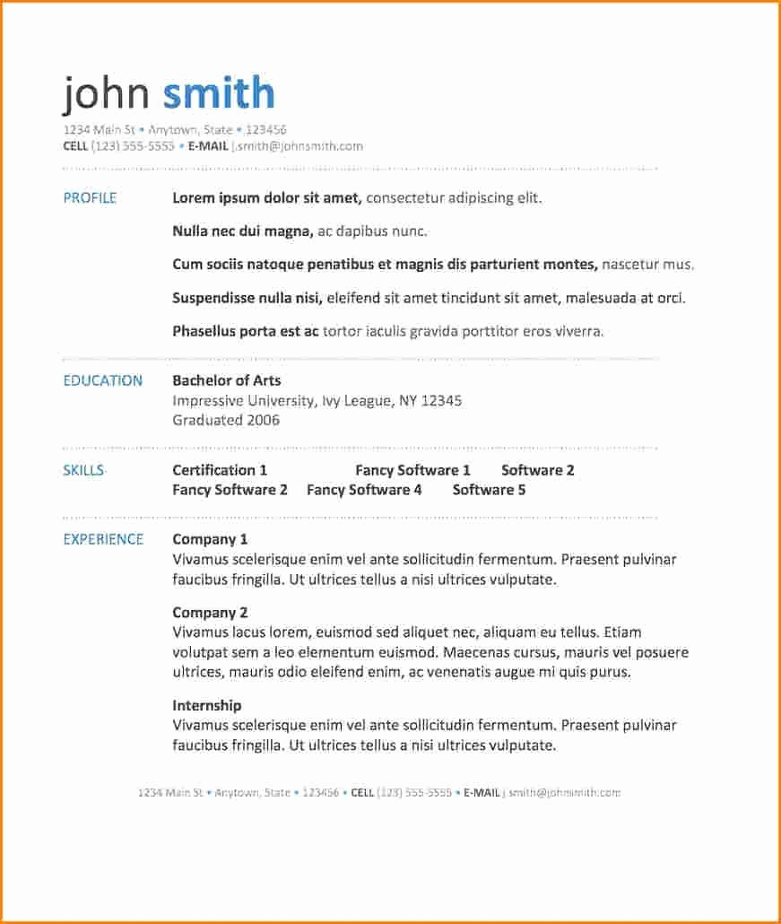 Free Resume Templates In Word 2010