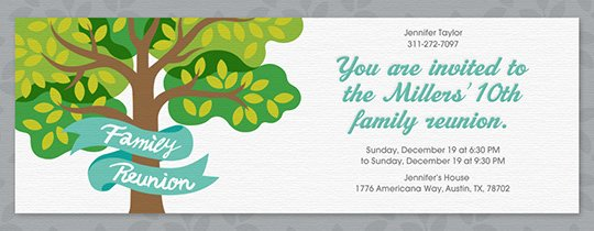 Free Reunion Invitations Class & Family Reunion