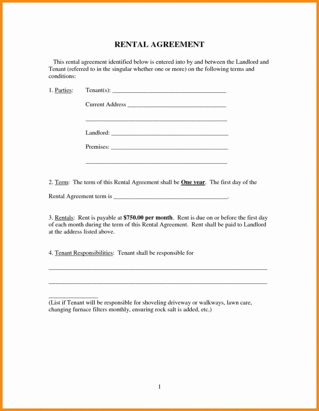 Free Room House Basic Rental Agreement Template