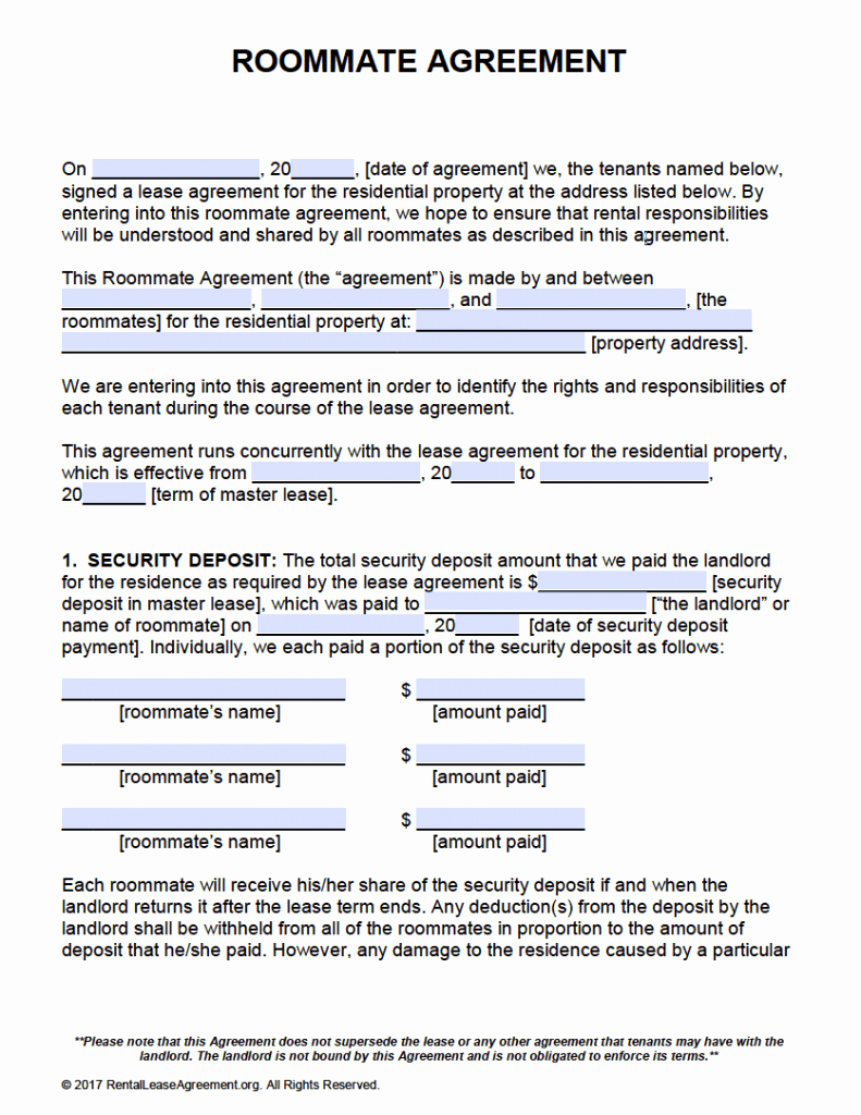 Free Roommate Agreement Template form – Adobe Pdf – Ms Word