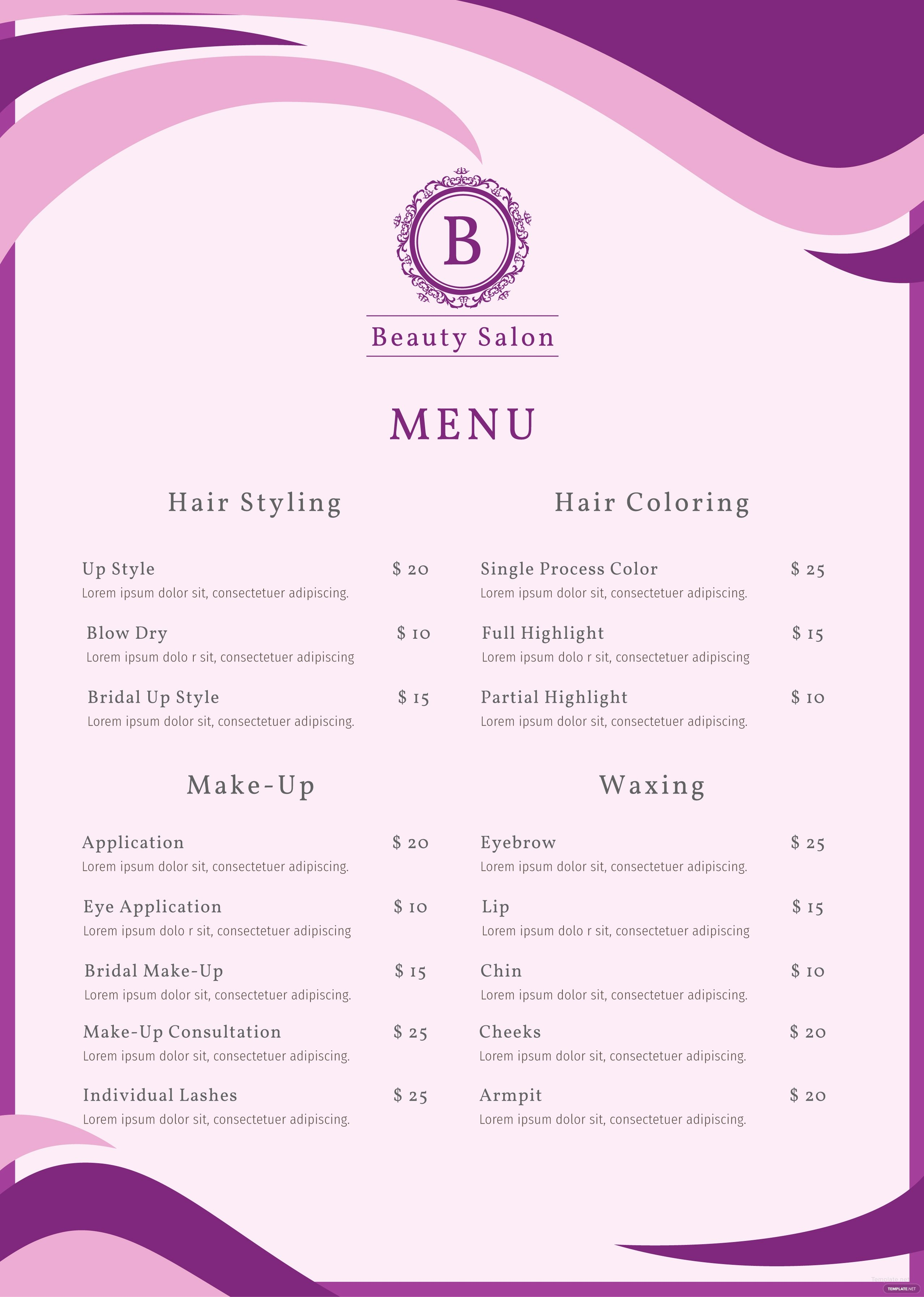 Free Salon Menu Template In Adobe Shop Illustrator
