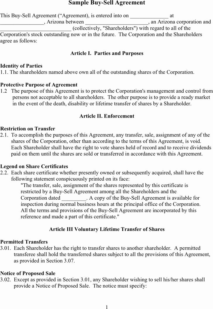 Free Sample Buy Sell Agreement Doc 57kb
