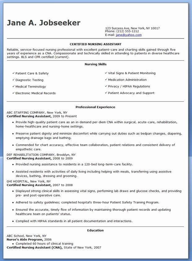 Free Sample Certified Nursing assistant Resume