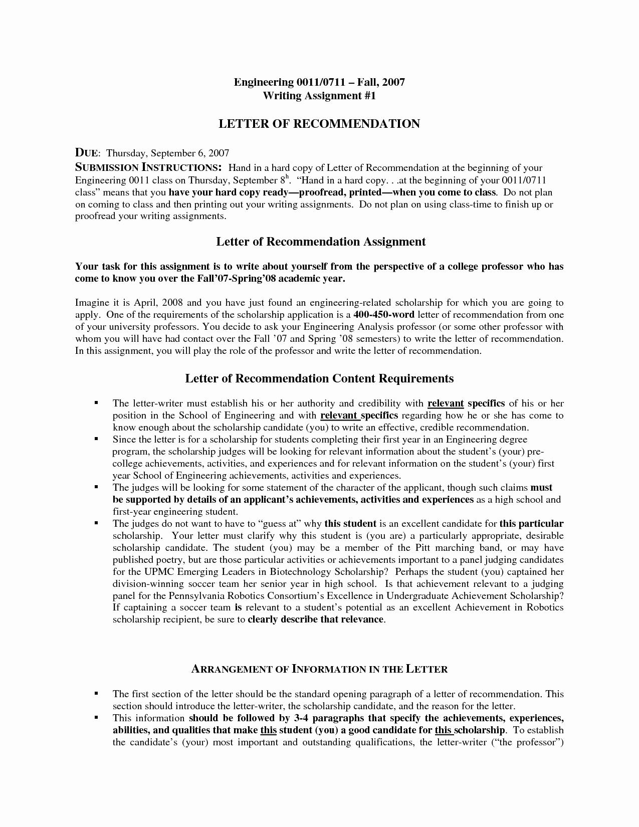 Free Sample Letter Re Mendation