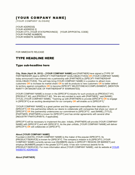 Free Sample Press Release Template Word