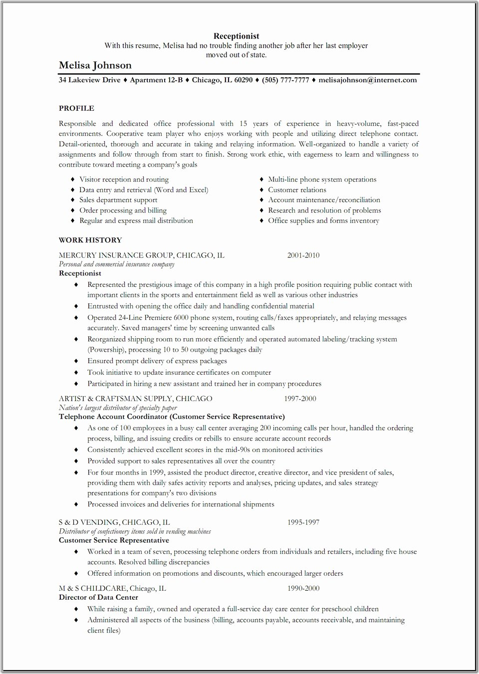 Free Sample Resume for Receptionist – Perfect Resume format