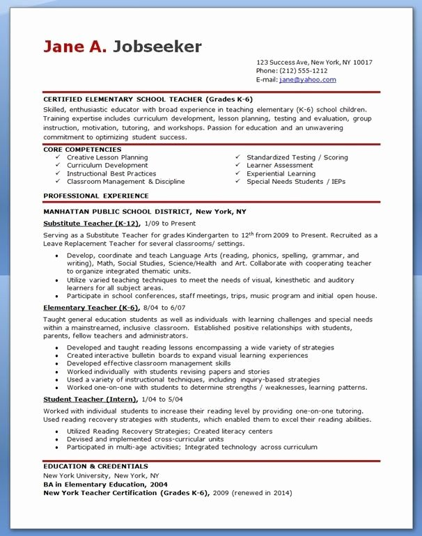 Free Sample Resume for Teachers Best Resume Collection