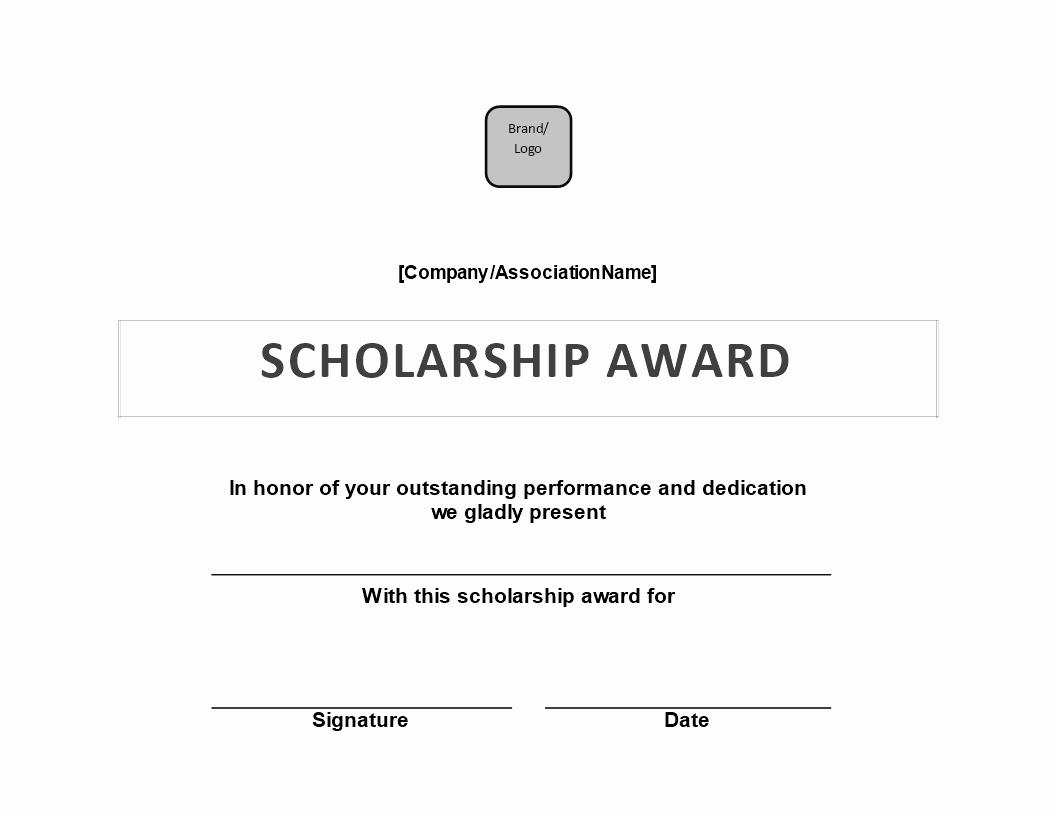 Free Scholarship Award Certificate