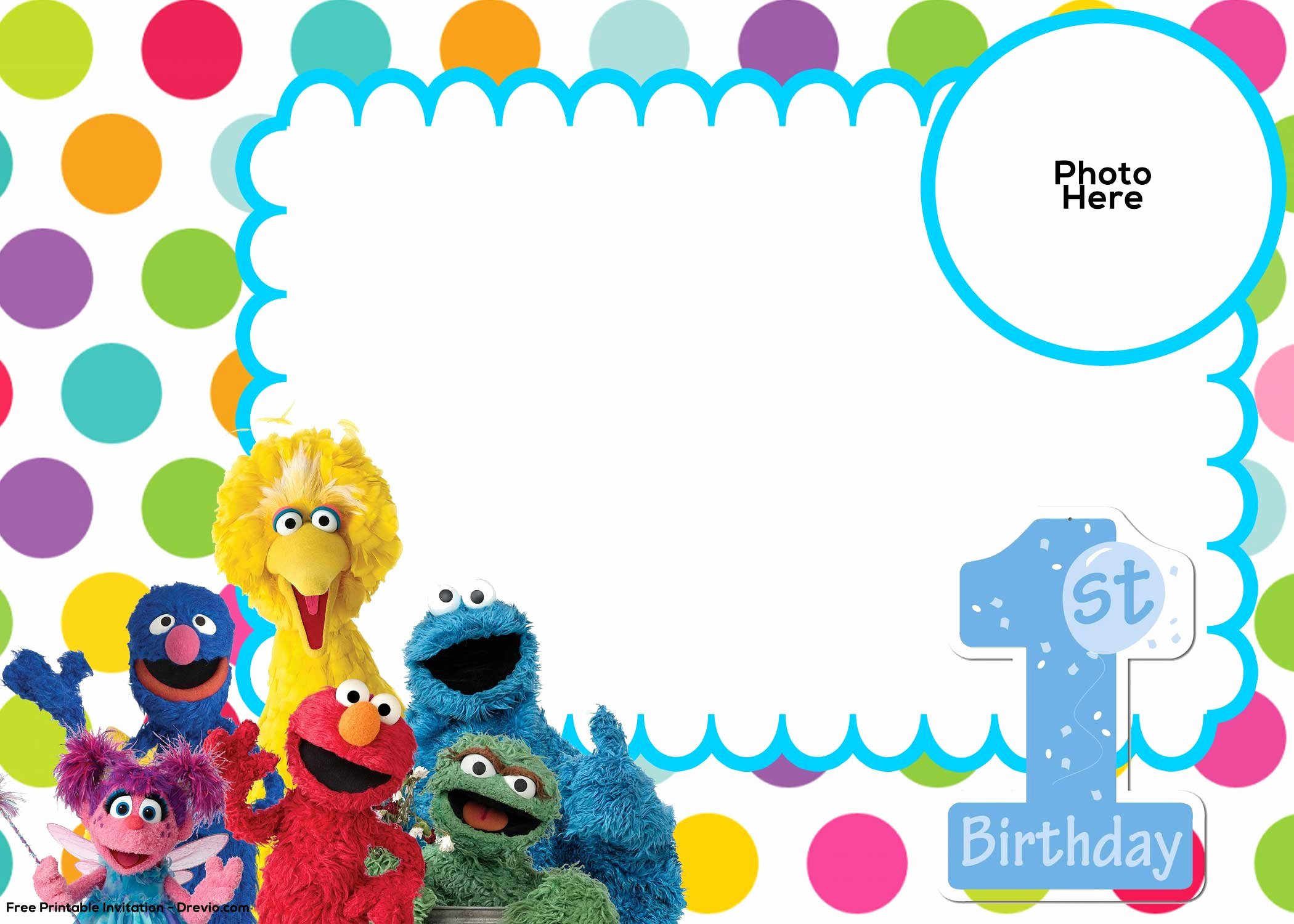 Free Sesame Street 1st Birthday Invitation Template