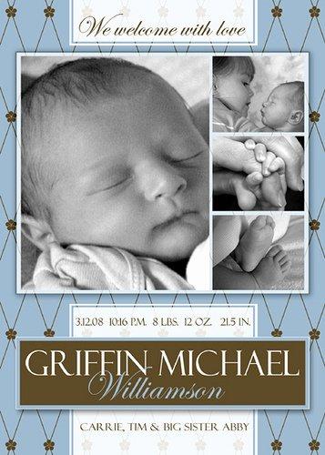 Free Shop Template Boy Birth Announcement
