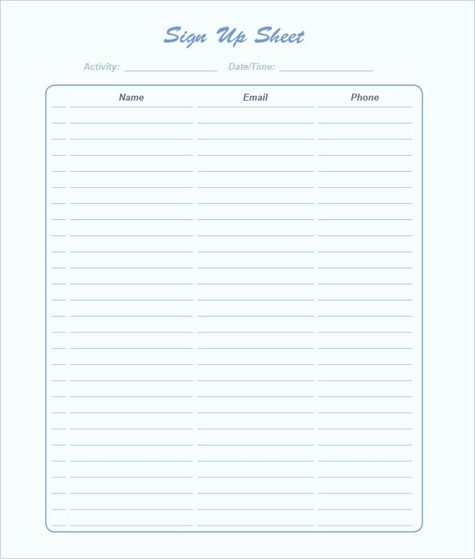 free sign sheet template word excel