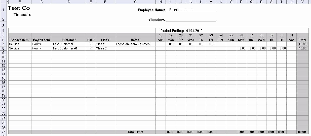 Free Simple Excel Employee Timesheet Template 1726