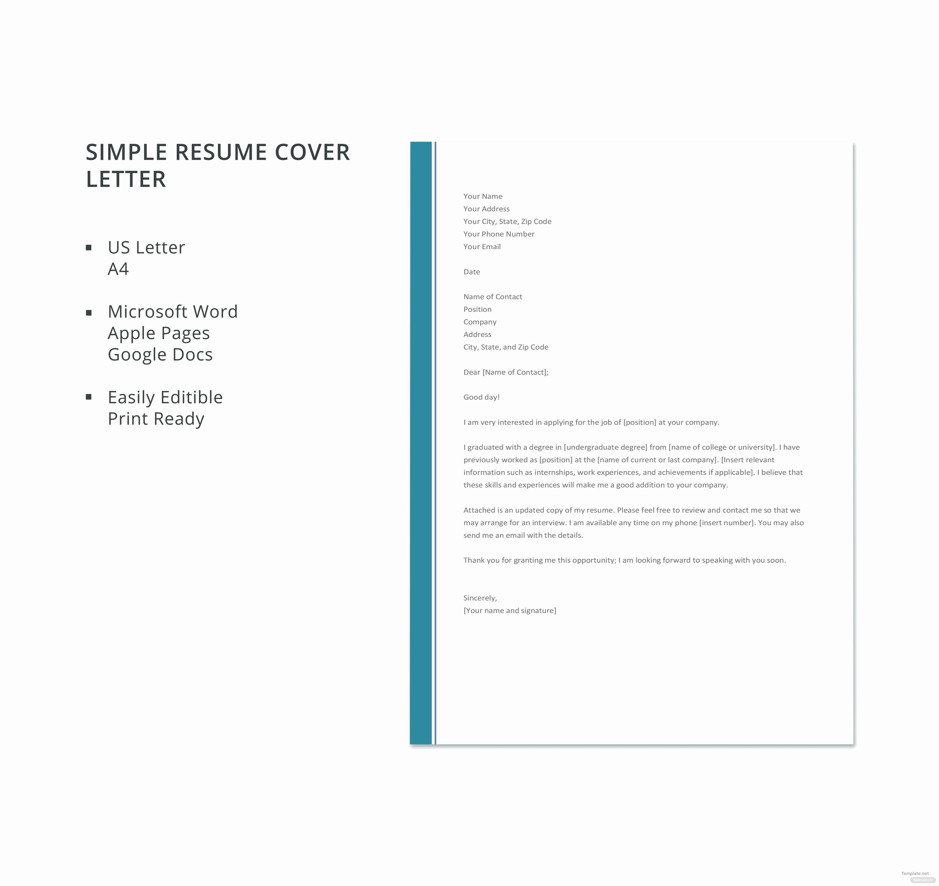Free Simple Resume Cover Letter Template In Microsoft Word