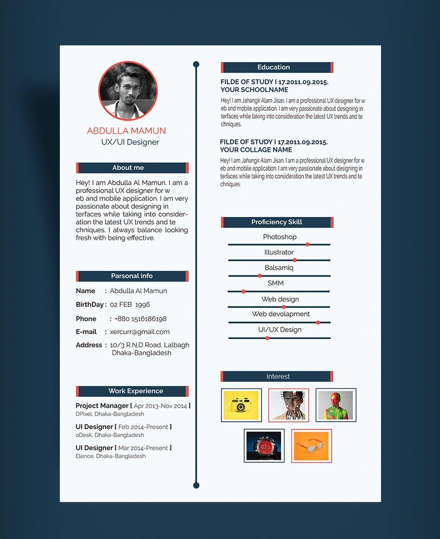 Free Simple Resume Cv Design Template Psd for Ux Ui