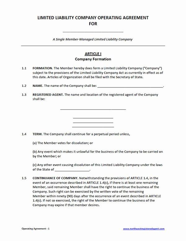 Free Single Member Llc Operating Agreement Template