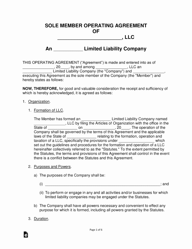 Free Single Member Llc Operating Agreement Templates Pdf