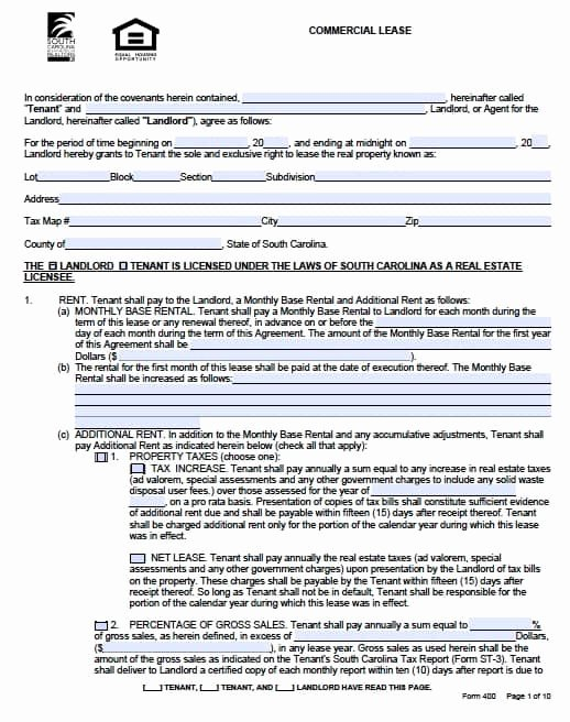 Free south Carolina Mercial Lease Agreement form – Pdf