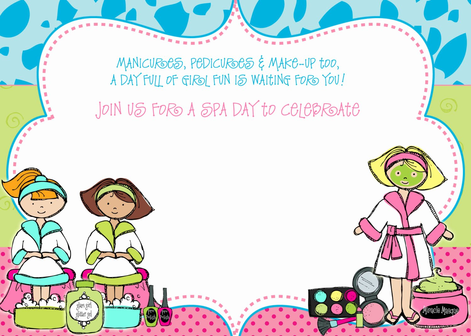 Free Spa Party Birthday Invitation Template