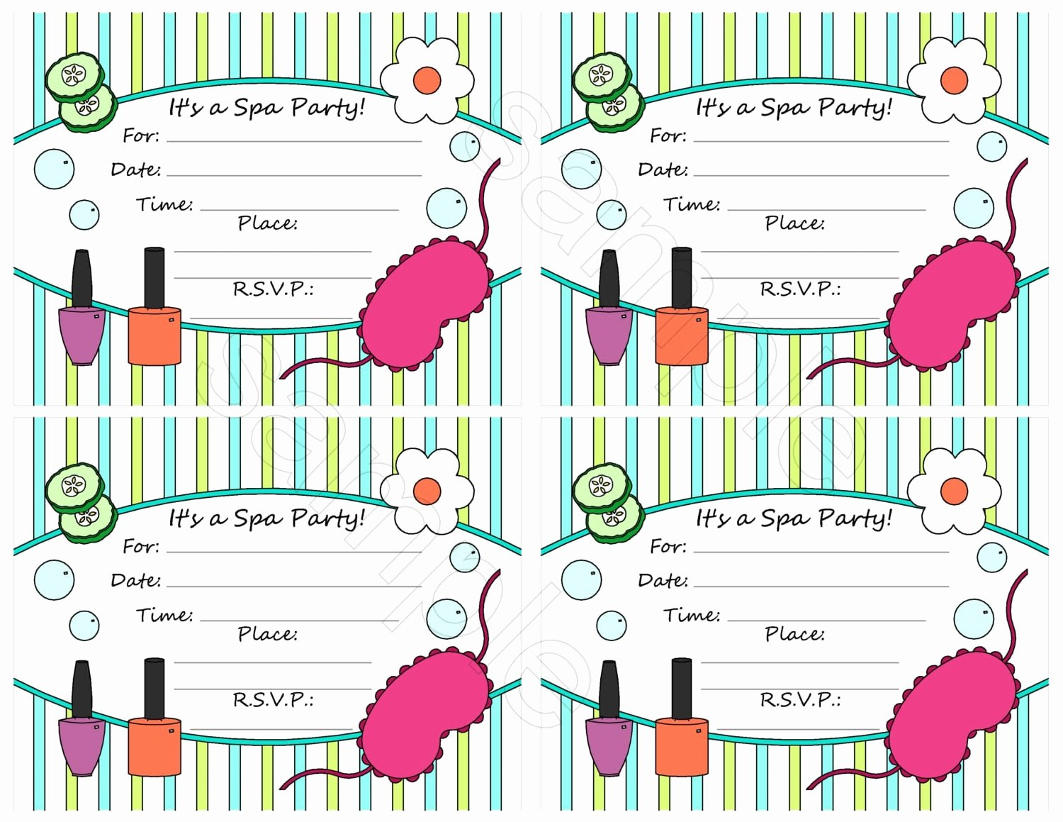 Free Spa Party Invitation Template