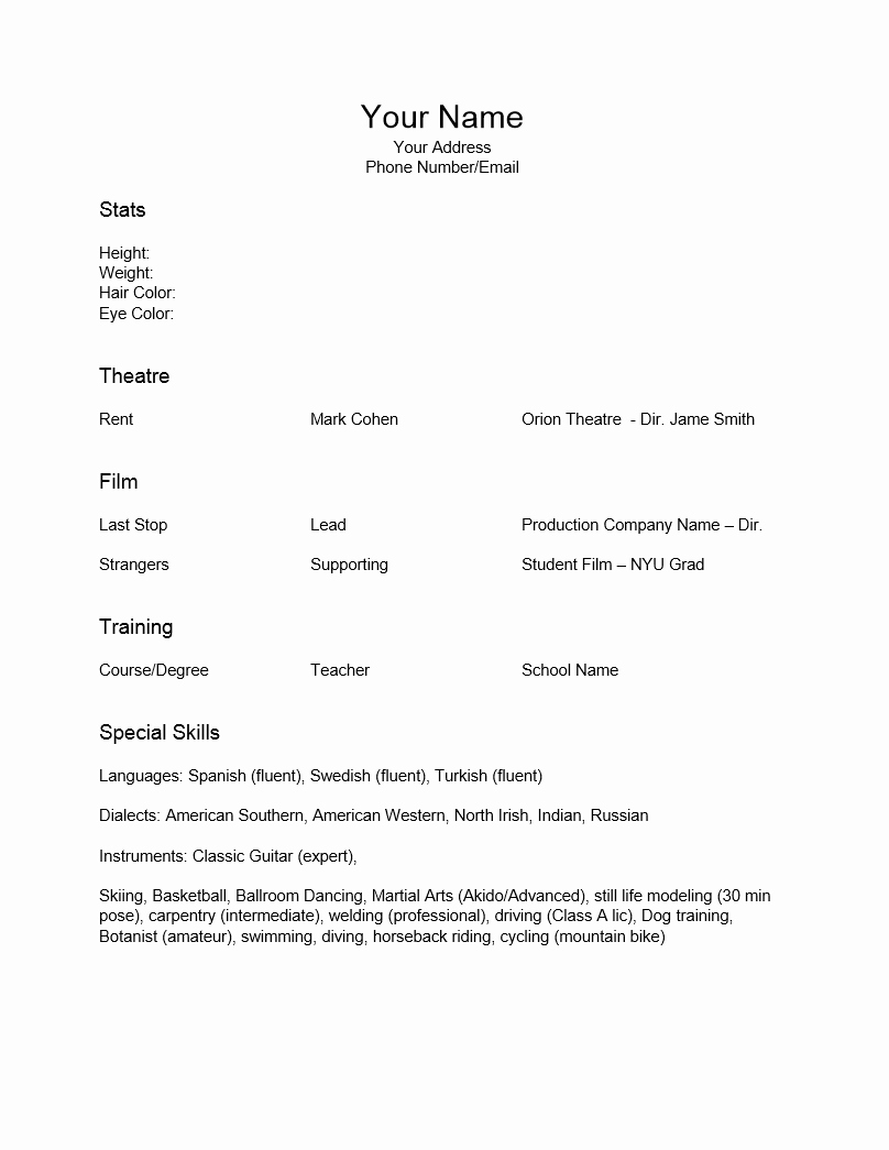 Free Special Skills Acting Resume Template Sample