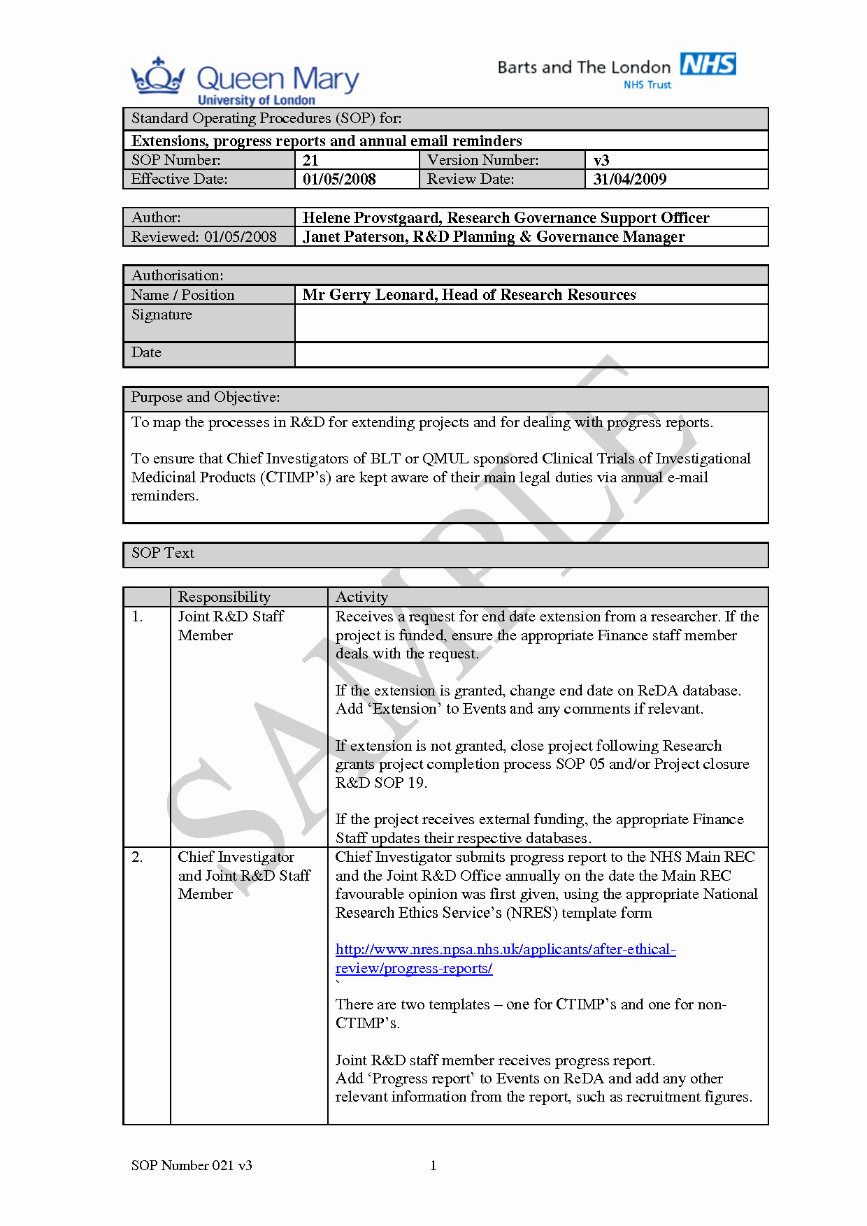 Free Standard Operating Procedure Template Word 2010