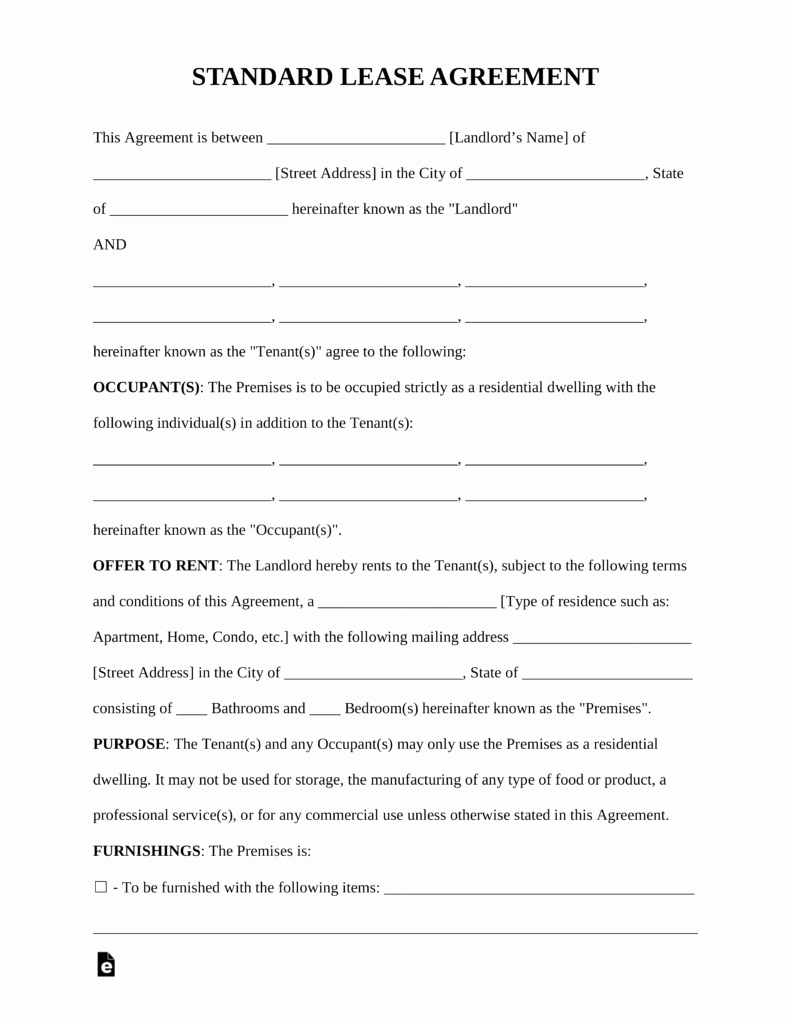 Free Standard Residential Lease Agreement Template Pdf