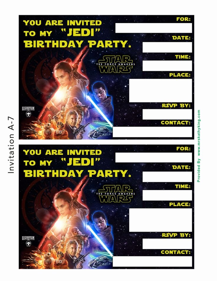Free Star Wars the force Awakens Printable Party
