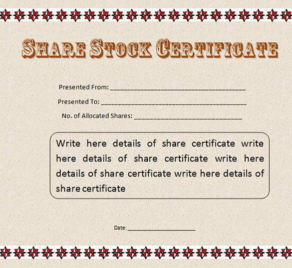 Free Stock Certificate Samples