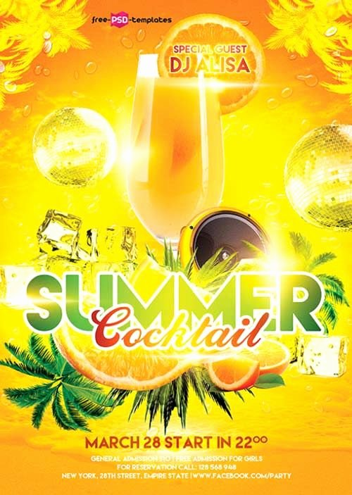 Free Summer Cocktail Flyer Template Freepsdflyer