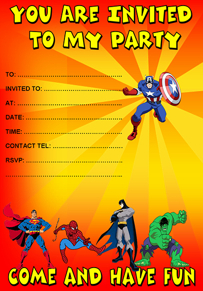 Free Superhero Invitations Templates Superhero Party