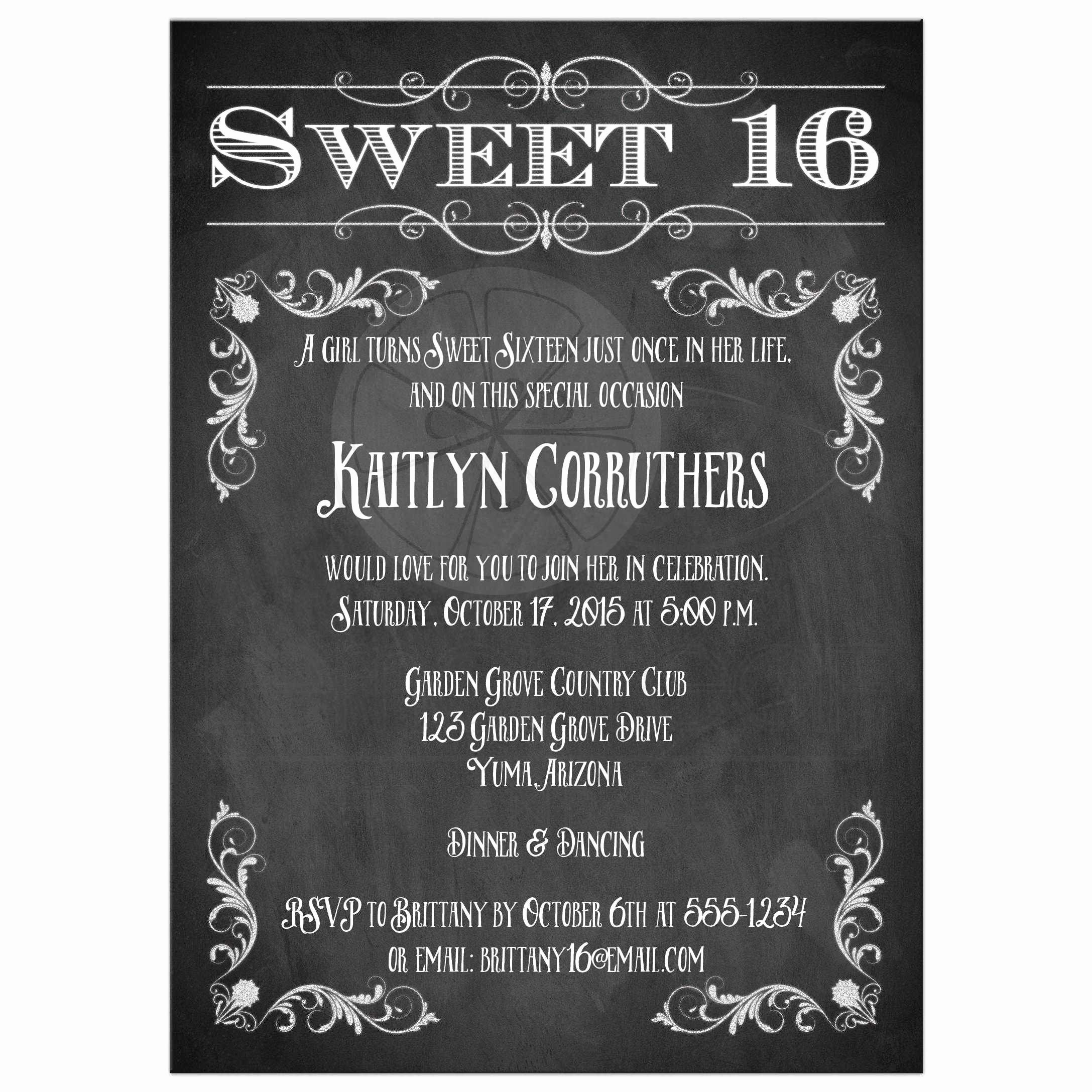 Free Sweet 16 Birthday Invitations – Free Printable