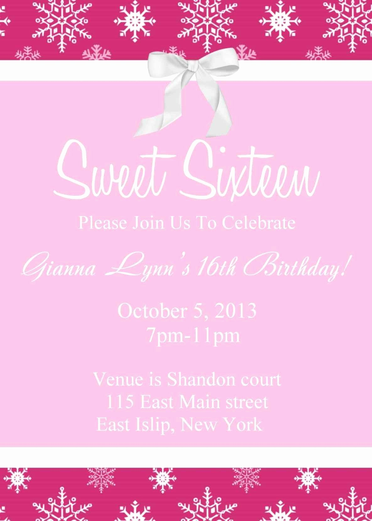 Free Sweet 16 Invitation Templates Template Update234