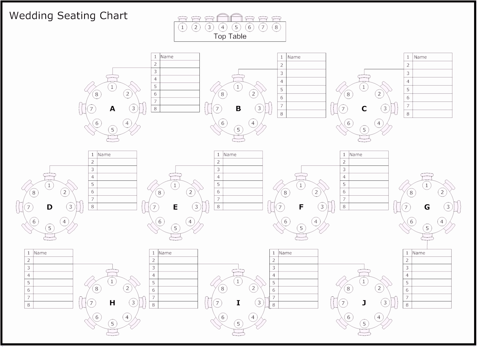 Free Table Of Reception & Wedding Seating Chart Template