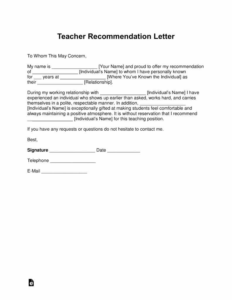 Free Teacher Re Mendation Letter Template with Samples