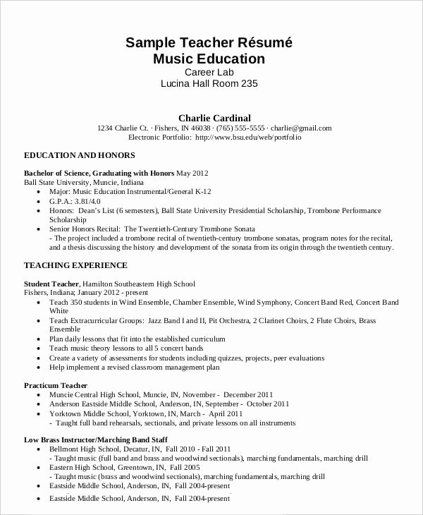 Free Teacher Resume 40 Free Word Pdf Documents